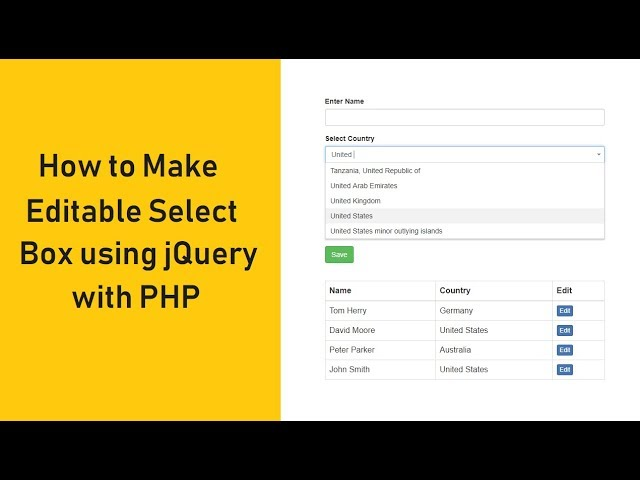How to Make Editable Select Box using jQuery with PHP