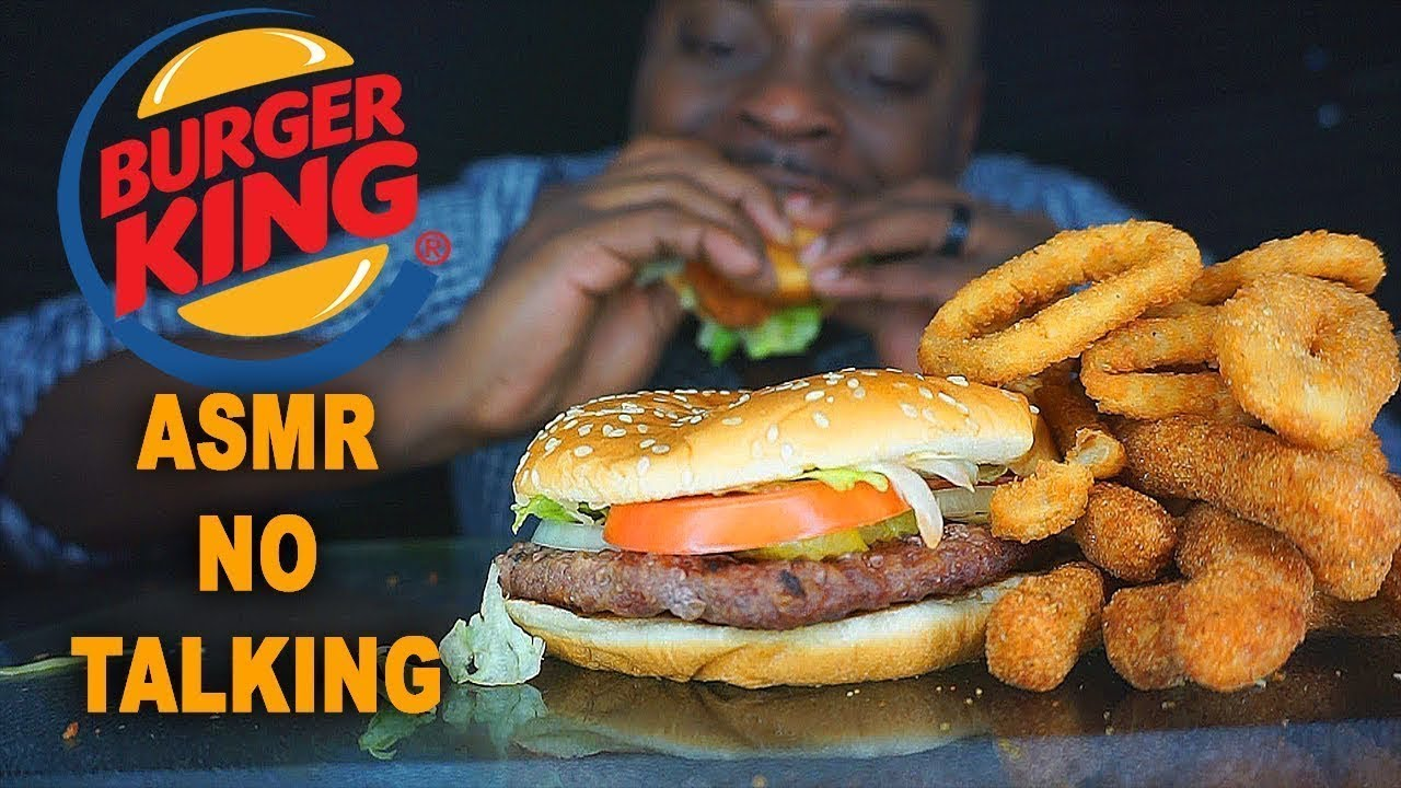 Asmr Crunchy Burger King Whopper Onion Rings Chicken Fries No Talking Relaxing Eating Sounds