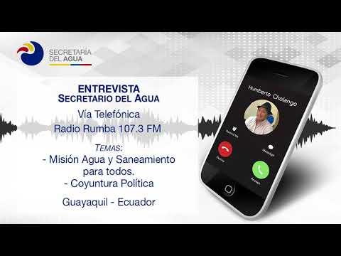Entrevista Humberto Cholango Secretario del Agua en Radio Rumba Guayaquil 10-01-2018