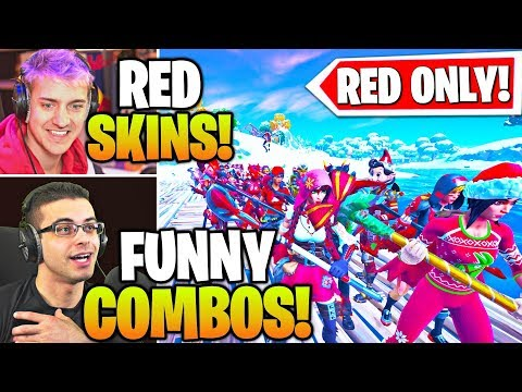 Streamers Host LARGEST *RED ONLY* SKIN & EMOTE Contest! (Fortnite)