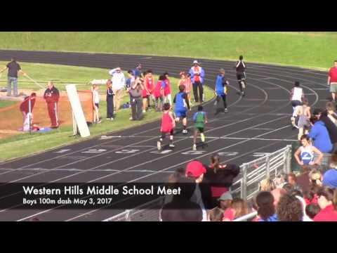 Boys 100m dash Western Hills Middle School Track Meet