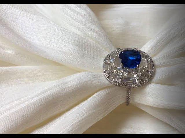 Boghossian Kissing Diamond blue spinel and white diamond ring