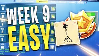 Week 9 Challenges FAST & EASY! Moisty Mire Treasure Map, Visit Taco Shops,  Chests, Fortnite Week 9!