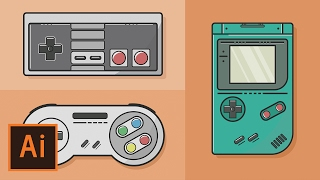 Illustrator Tutorial - Video Game Flat Design (Illustrator Flat Design Tutorial)