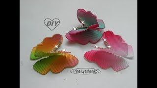 Бабочка из лент МК/DIY Butterfly made of ribbons/PAP Borboleta feita de fitas#140