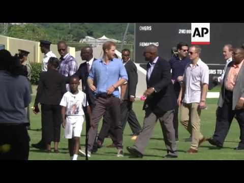 Prince Harry tours Caribbean island of Antigua