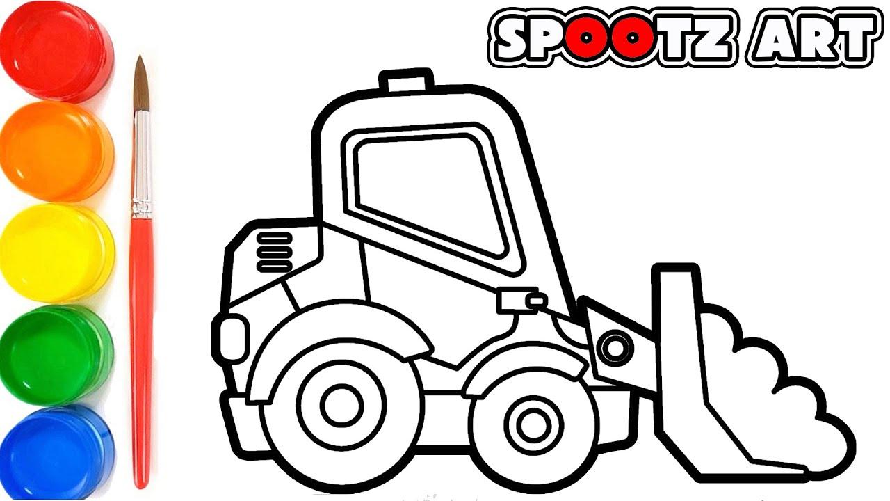 Cara Menggambar Mini Excavator Dan Mewarnai Dengan Cat Air Youtube