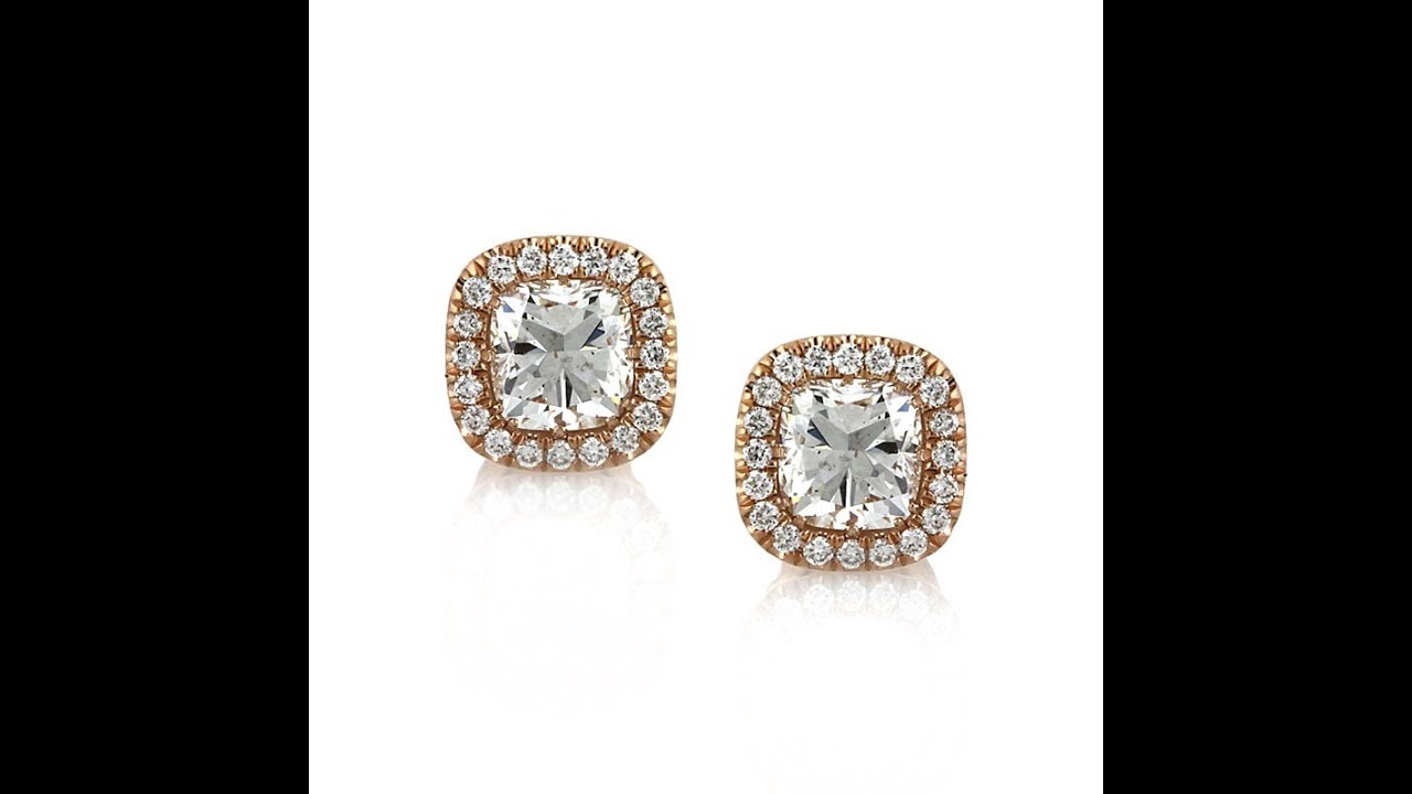 Mark Broumand 1 25ct Cushion Cut Diamond Rose Gold Stud Earrings