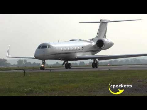 Beautiful NetJets Gulfstream G550 CS-DKJ -Landing & Powerful Take off- London Oxford Airport