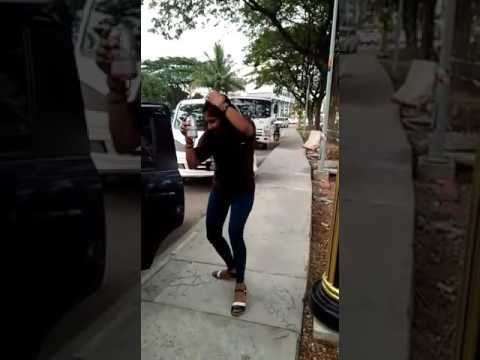 Malaysia Indian after Drunk and Dance on road side