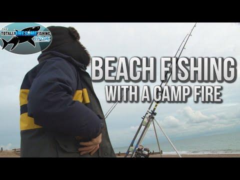 Winter Beach Fishing with a Camp Fire | TAFishing