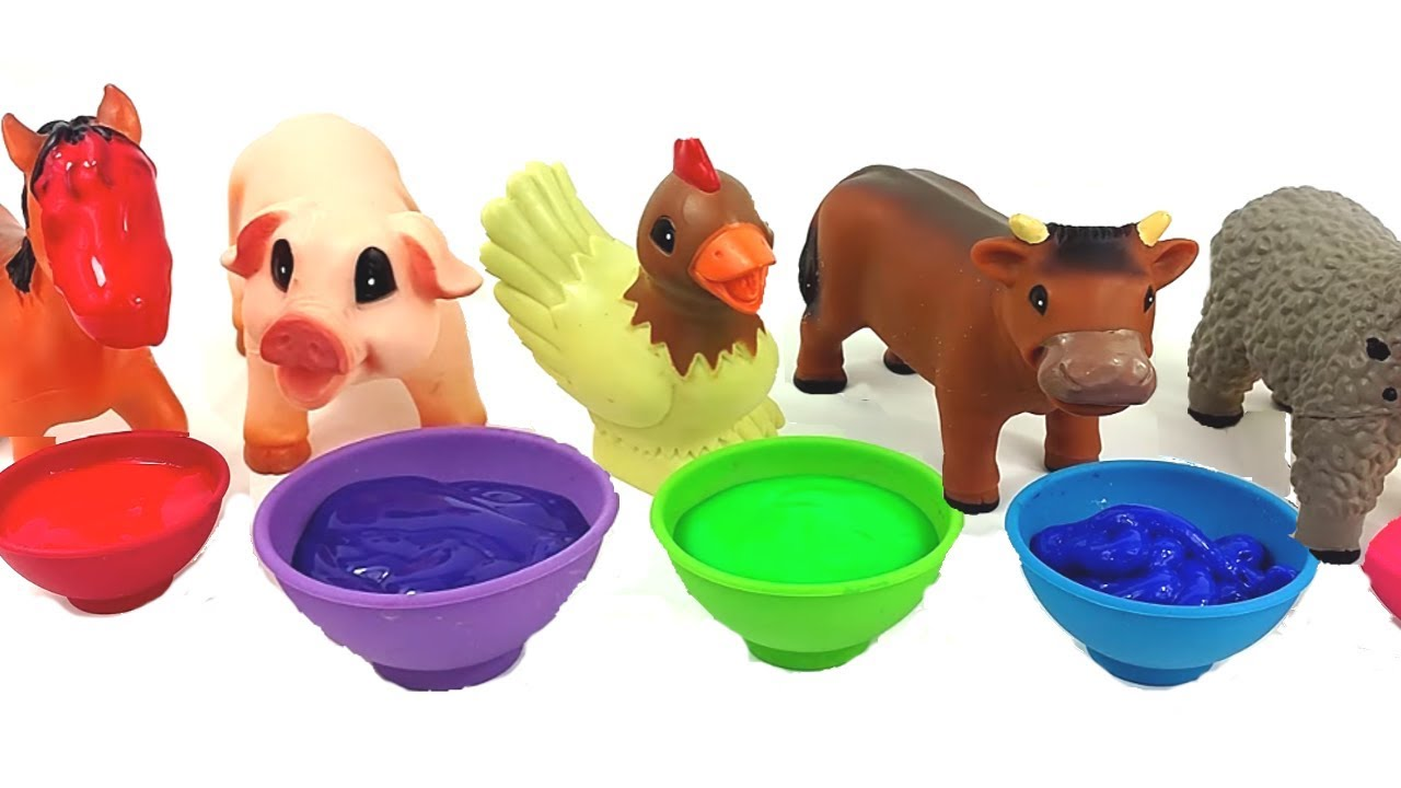 Learn Colors And Names Of Farm Animals Painting Toy Animals Bath Time Names And Sounds Learning