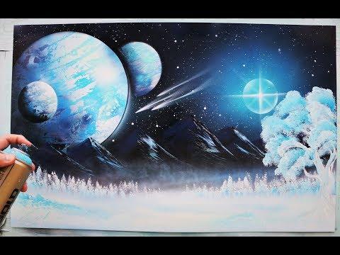 Frozen Forest - Spray Paint ART - by Skech