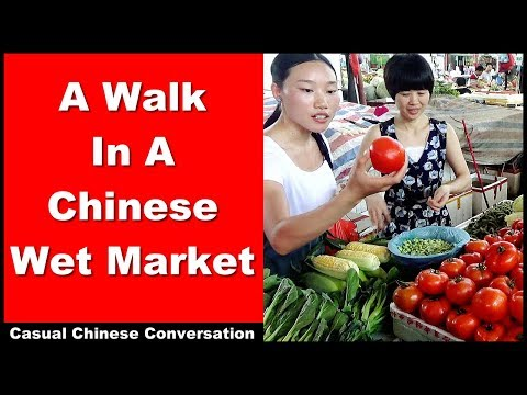 A Walk in a Chinese Wet Market - Learn Intermediate Chinese Conversation with pinyin subtitles