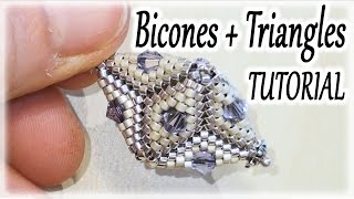Beading Tutorial - Peyote stitch Triangles and Bicones in a 3-space beadwork