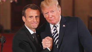 Trump-Macron kissing hand holding dandruff wiping  their body language analyzed
