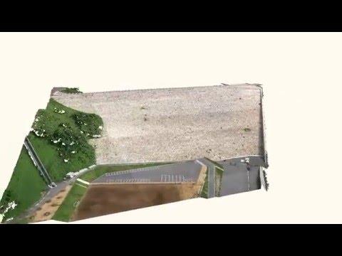 【UAV空撮】殿ダム3D点群動画(上空を1周)