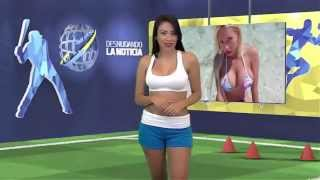 Hot female TV presenter strips whilst reporting on Cristiano Ronaldo