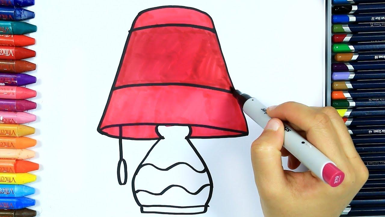 Abajur Nasıl çizilir Boya Boya çizelim Boyayalım çocuklar