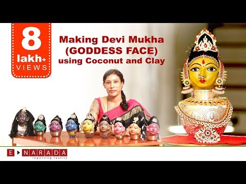 Making Goddess Face using coconut and Clay  | Amazing Demo by Mamatha