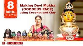 Making Goddess Face using coconut and Clay  | Navratri festival |  Amazing Demo by Mamatha