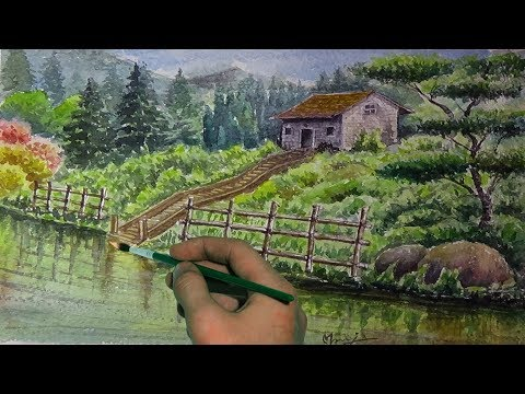 Beautiful Landscape | watercolor painting for beginners