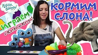 Котики, вперед! - Играем с Катей и Котей - Кормим слона  - выпуск 32