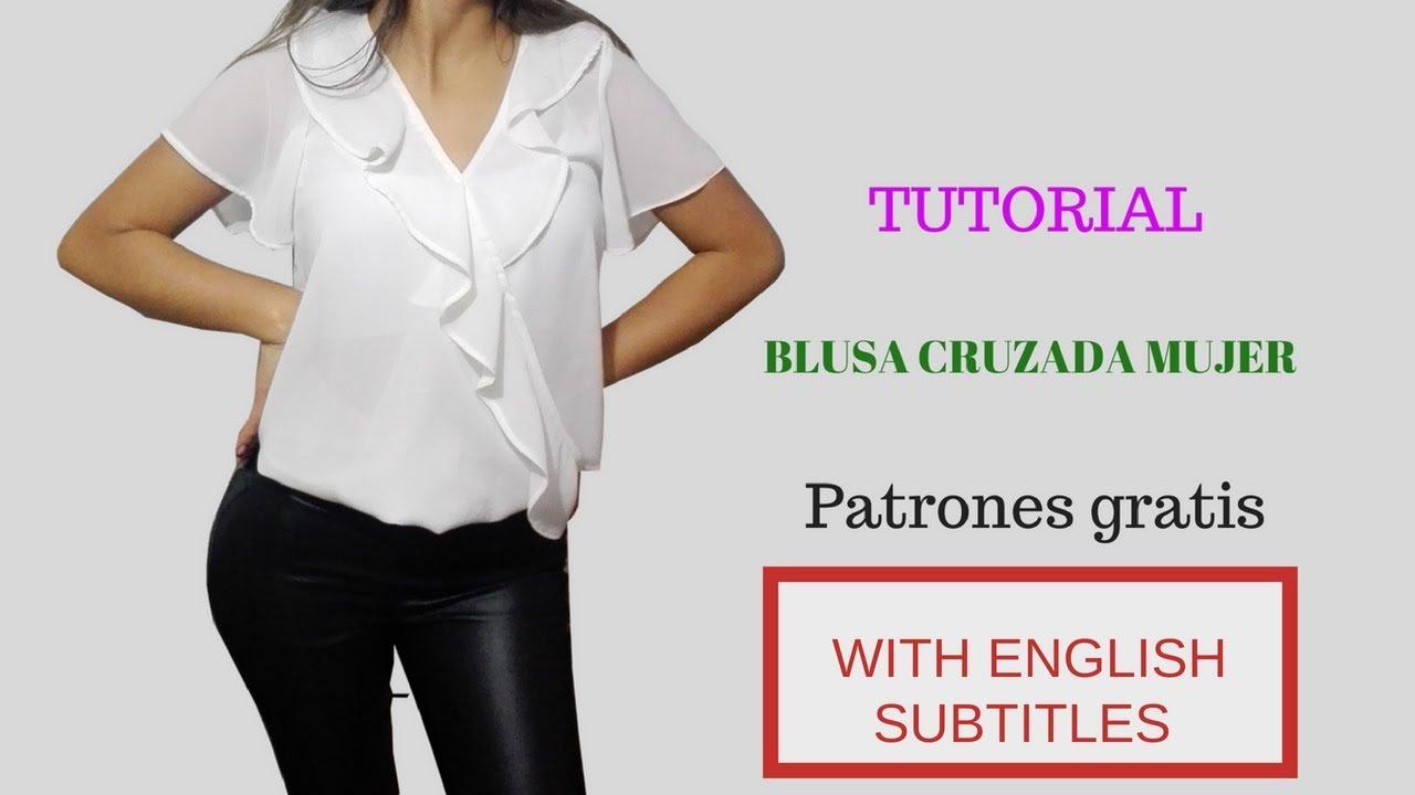 DIY Como hacer una blusa blusa cruzada con boleros para mujer/HOW TO ...