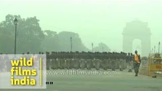 Indian Army band marches in early morning winter mist - talk of discipline!