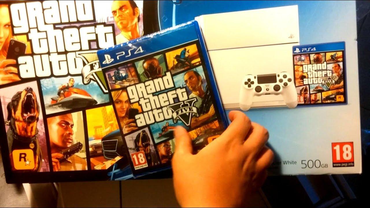 GTA V Unboxing! (Playstation 4 Glacier White + GTA 5 Bundle)