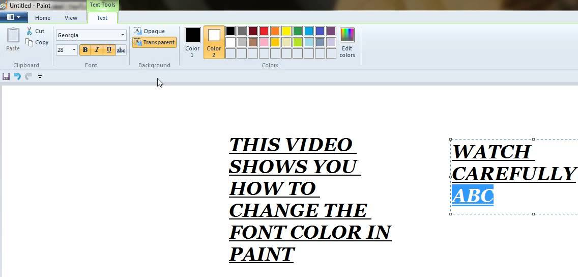 How to change Font Color in Ms Paint - YouTube