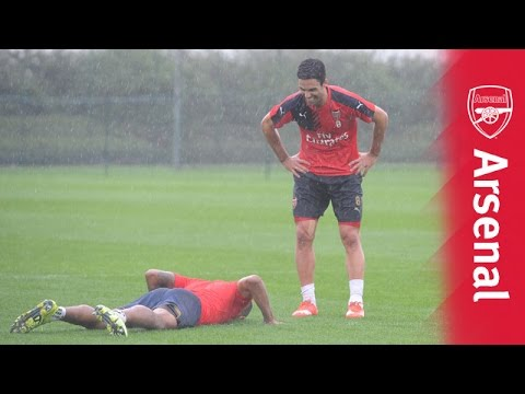 Theo Walcott and Mikel Arteta take on dizzy goals challenge