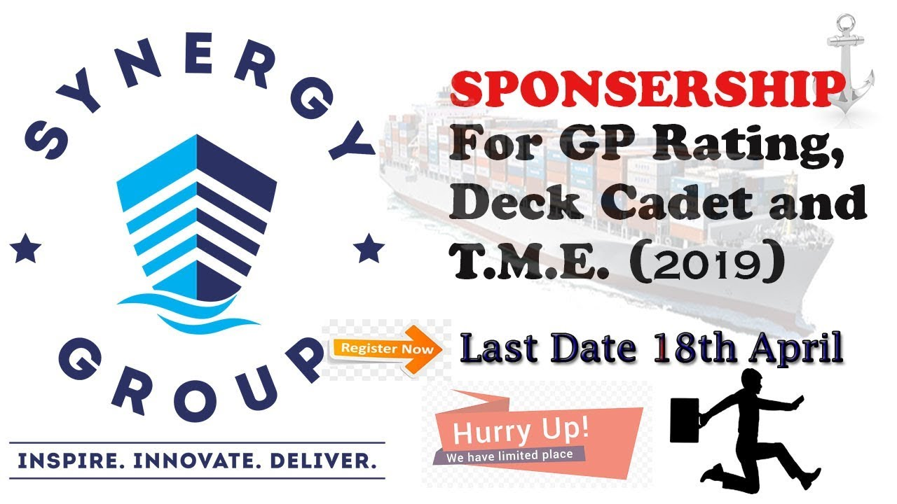 SPONSORSHIP for GP RATING, DECK CADET AND TME (2019) / MERCHANT NAVY
