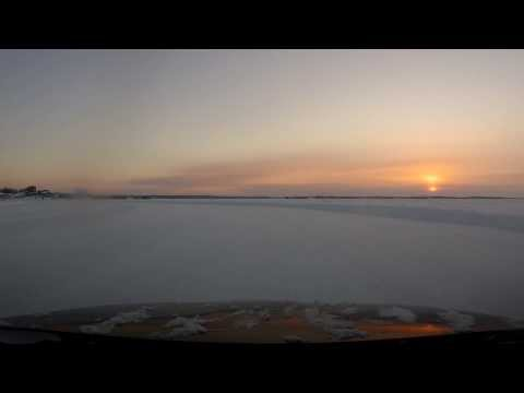 Yellowknife NWT Canada - Driving on frozen Great Slave Lake, Extreme cold HD