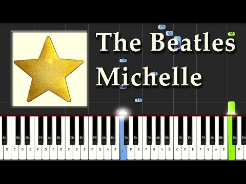 The Beatles - Michelle - Piano Tutorial Easy Synthesia - How To Play