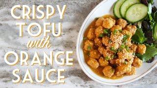 CRISPY TOFU W/ ORANGE SAUCE Gluten Free & Oven-baked