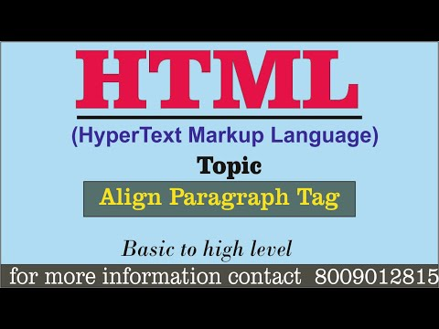 Basic HTML Practical || ALIGN - PARAGRAPH TAG || Full Computer Tutorial For Beginners In Hindi