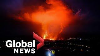 La Palma volcano: Video captures collapse of volcanic cone, ash shuts down airport