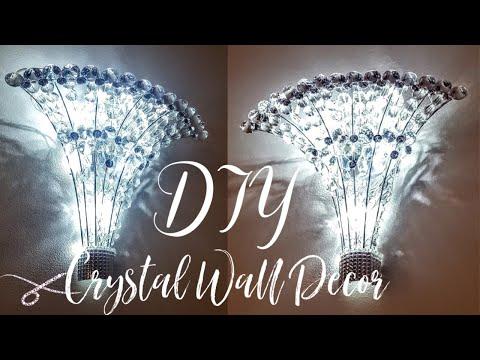 DIY Dollar Tree Crystal Wall Chandelier Light | DIY Wall Decor | DIY Glam Home Decor | Wall Sconce