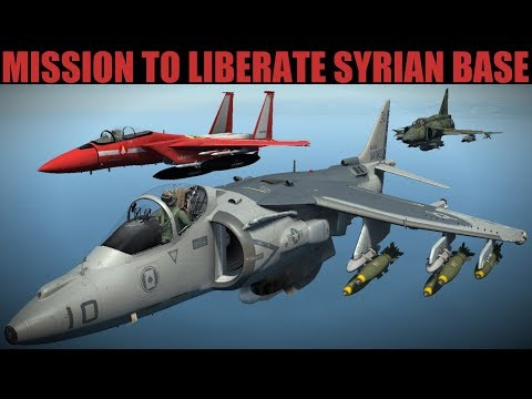 Syria Campaign: HUGE Multi-discipline Strike To Free Airbase | Harrier Su-33 F-15 Viggen | DCS