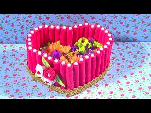 DIY Heart Jewelry Box Amazing Organizer Cardboard Crafts Gift Box Idea