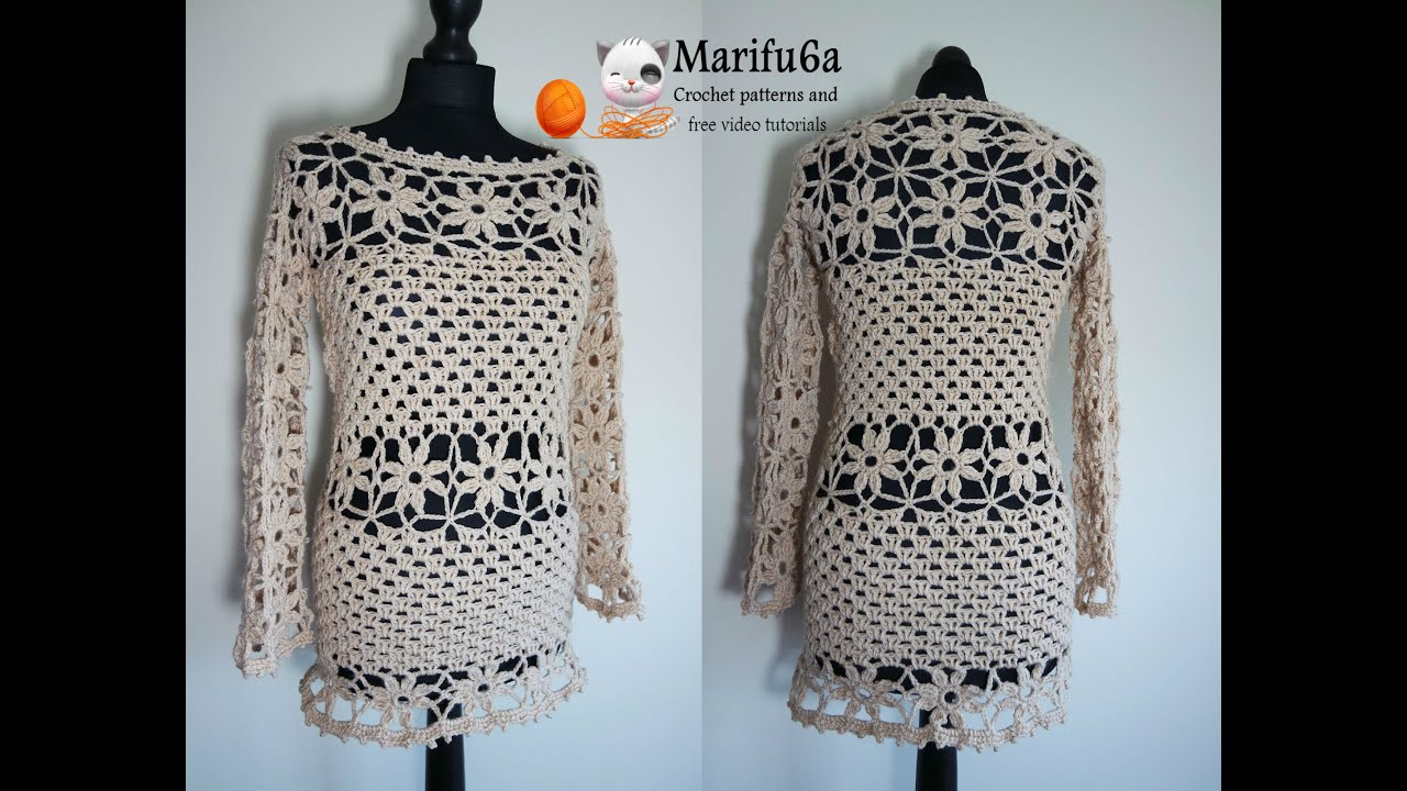 663ad9b2a How to crochet sweater pullover tunic dress tutorial pattern by marifu6a