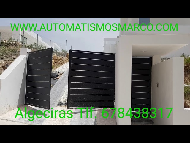 Puerta automatica abatible fabricación y montaje