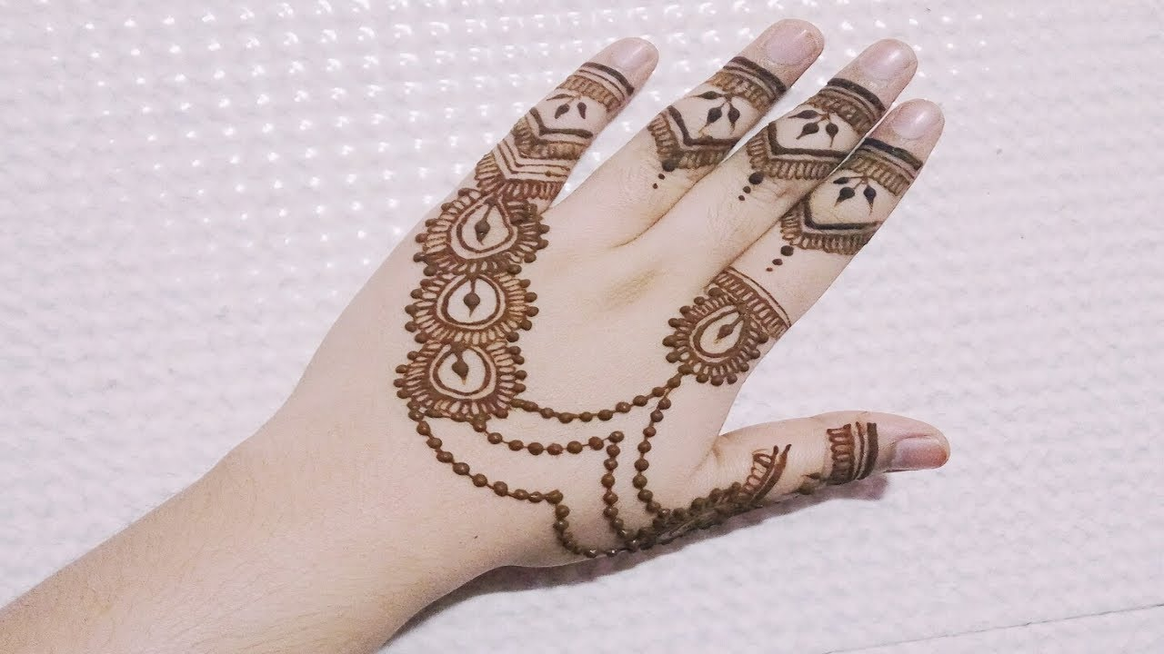 Jewellery Style Back Hand Henna Mehndi Design 2018 Youtube