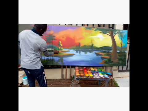 Demonstration of sunset landscape painting, Acrylic on canvas