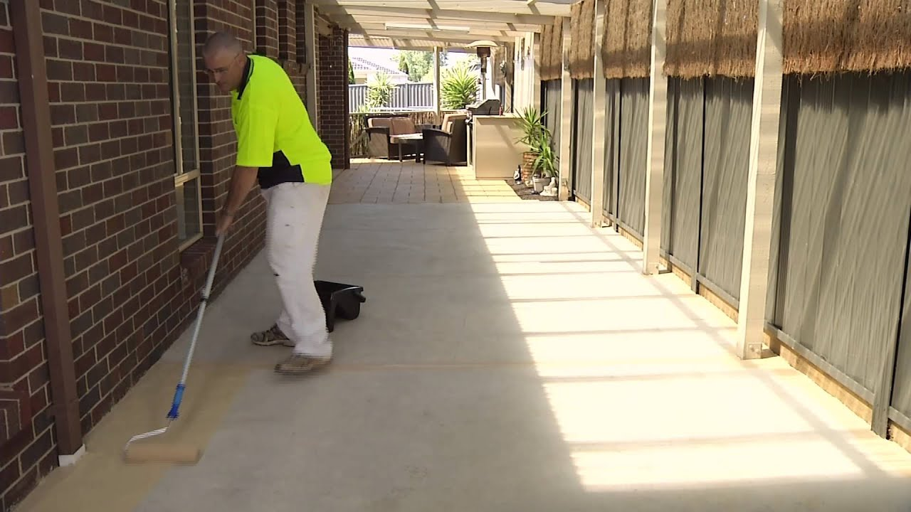How To Paint Concrete With Quickpave Youtube
