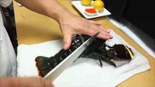 EXTREMELY GRAPHIC: Live Maine Lobster For Sashimi Part 1 - How To Make Sushi Series