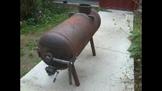 Простая печь-буржуйка из газового баллона
