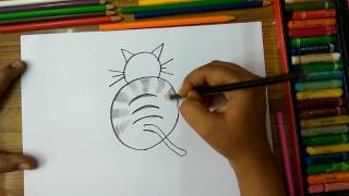 "How to draw cat from alphabet ""Q"" step by step very easily for kids"