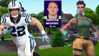 CHRISTIAN MCCAFFREY MAKES DEFAULT SKIN CRY! NFL Players in Fortnite Part 3!